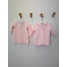 Abrigo + vestido pata de gallo rosa