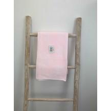 Mantita coronas rosa y blanco