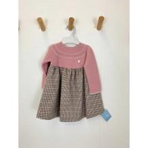 Vestido combinado pata de gallo rosa