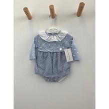 Vestido combinado motitas y plumeti azul