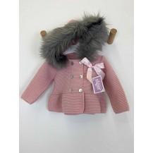 Abrigo rosa lazo pelo gris