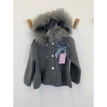 Abrigo gris lazo pelo gris