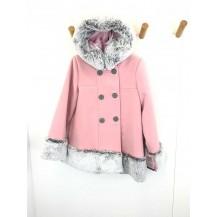Abrigo paño rosa empolvado pelo gris
