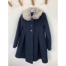 Abrigo marino lana rizada cuello pelo