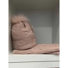 Conjunto gorro + cuello rosa palo lentejuelas y pompon pelo