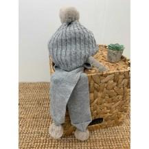 Gorro ochos bufanda incorporada pompones gris