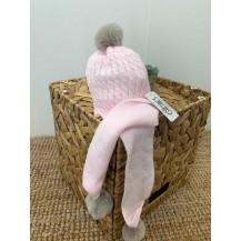 Gorro ochos bufanda incorporada pompones rosa
