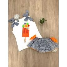 Conjunto braguita vichy azul/naranja y camiseta helados