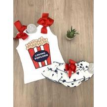 Conjunto braguita corazones + camiseta palomitas