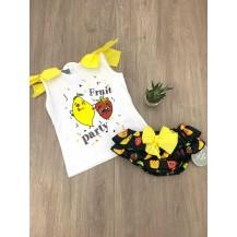 Conjunto braguita negra frutas + camiseta