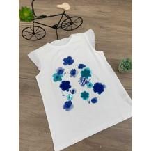 Camiseta blanca flores azules