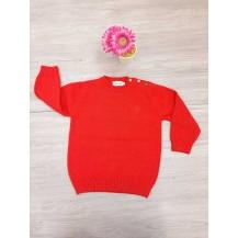 Jersey básico rojo cuello redondo