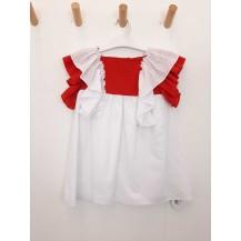 Vestido plumeti blanco volantes rojo