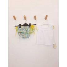 Conjunto camiseta blanca + braguita liberty amarilla