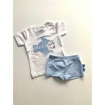 Boxer + camiseta pez celeste