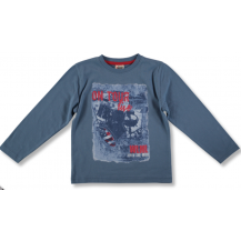Camiseta azul bateria letras rojas