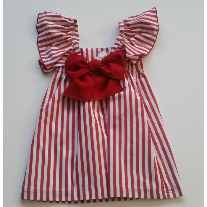 Red   white striped dress lacing back - Spanish Baby Clothes 09631de36