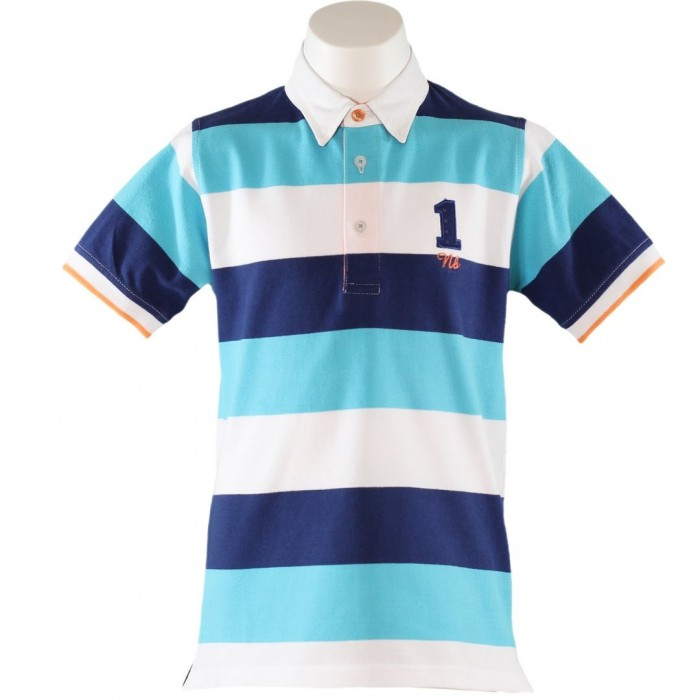 a2f1e5b2 T-shirts and Polos. - 60%. SALE. Navy, white and turquoise striped boy ...