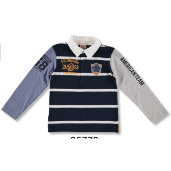6418340a782 Navy and white striped boy polo shirt with mustard - Spanish Baby ...