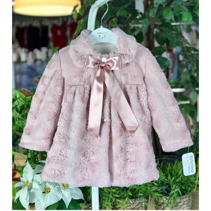 Abrigo pelo + capota forro rosa empolvado - Spanish Baby Clothes 67a342242aa