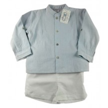 Mao neck shirt set with green striped water and white linen trousers