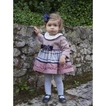 Baby dress combined pink and navy blue